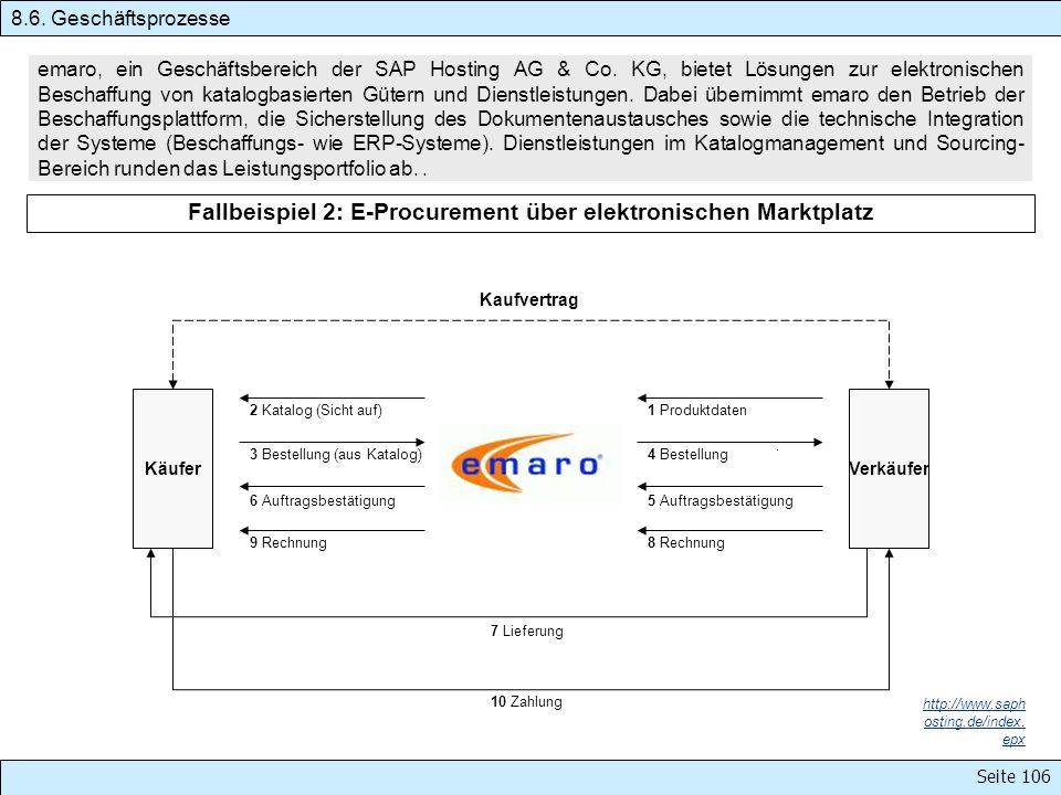 Seite 106 emaro, ein Geschäftsbereich der SAP Hosting AG & Co. KG, bietet Lösungen zur elektronischen Beschaffung von katalogbasierten Gütern und Dien