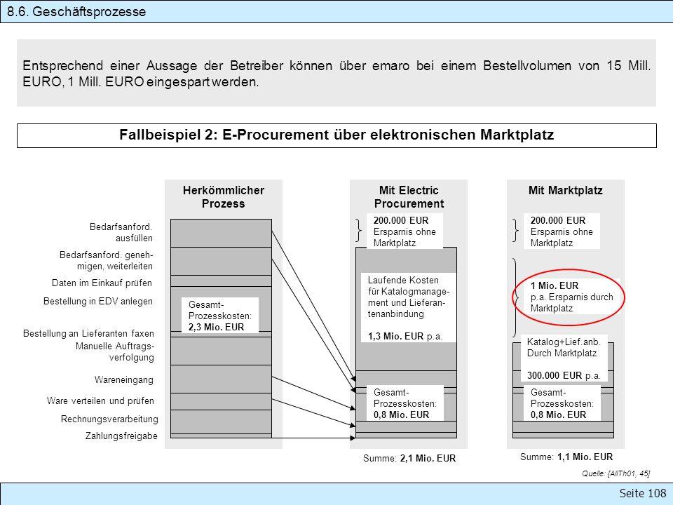 Seite 108 Entsprechend einer Aussage der Betreiber können über emaro bei einem Bestellvolumen von 15 Mill. EURO, 1 Mill. EURO eingespart werden. 8.6.