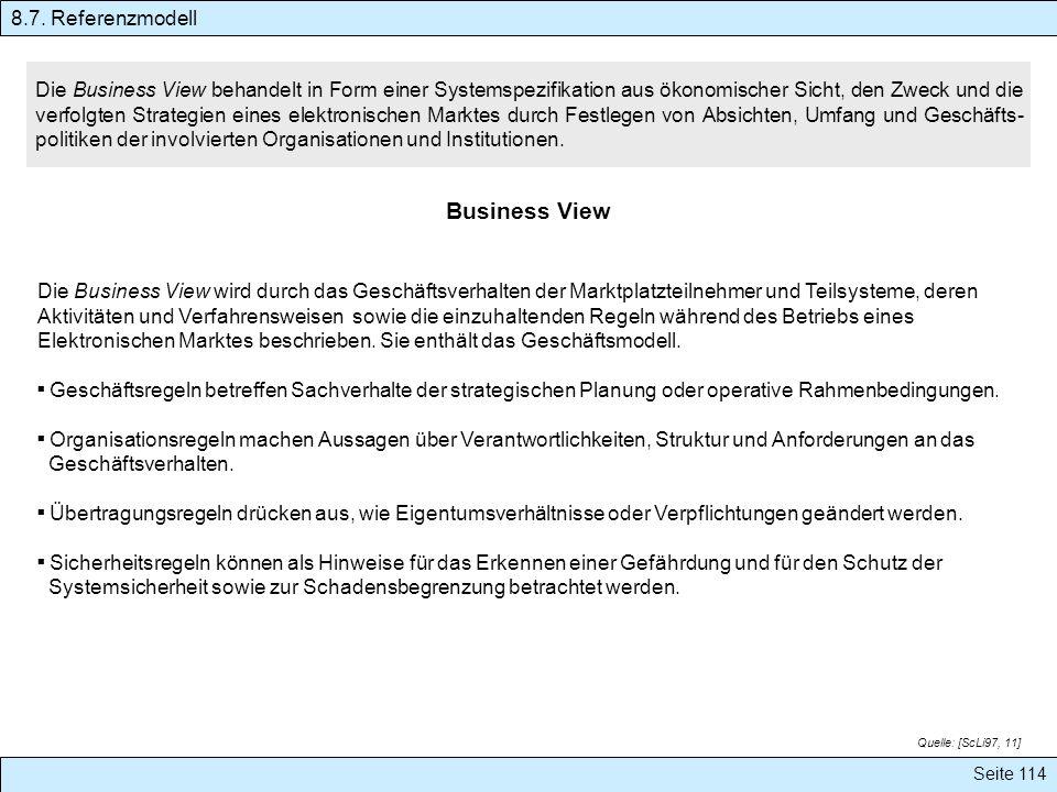 Seite 114 Die Business View wird durch das Geschäftsverhalten der Marktplatzteilnehmer und Teilsysteme, deren Aktivitäten und Verfahrensweisen sowie d