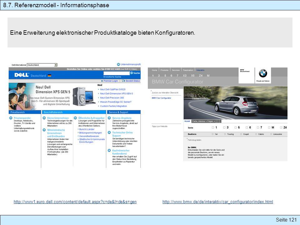 Seite 121 Eine Erweiterung elektronischer Produktkataloge bieten Konfiguratoren. 8.7. Referenzmodell - Informationsphase http://www1.euro.dell.com/con