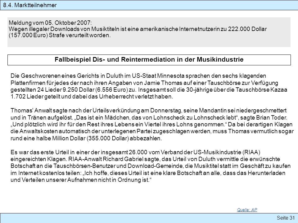 Seite 31 Meldung vom 05. Oktober 2007: Wegen illegaler Downloads von Musiktiteln ist eine amerikanische Internetnutzerin zu 222.000 Dollar (157.000 Eu