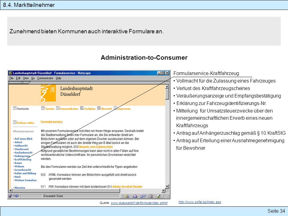 Seite 34 Zunehmend bieten Kommunen auch interaktive Formulare an. Administration-to-Consumer 8.4. Marktteilnehmer Formularservice-Kraftfahrzeug Vollma