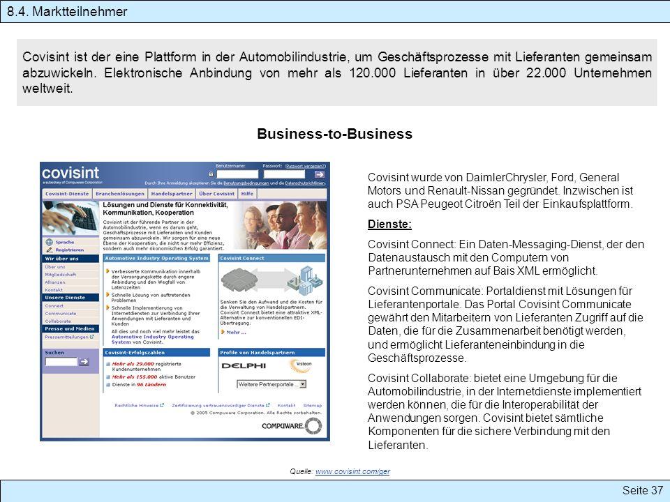 Seite 37 Covisint ist der eine Plattform in der Automobilindustrie, um Geschäftsprozesse mit Lieferanten gemeinsam abzuwickeln. Elektronische Anbindun