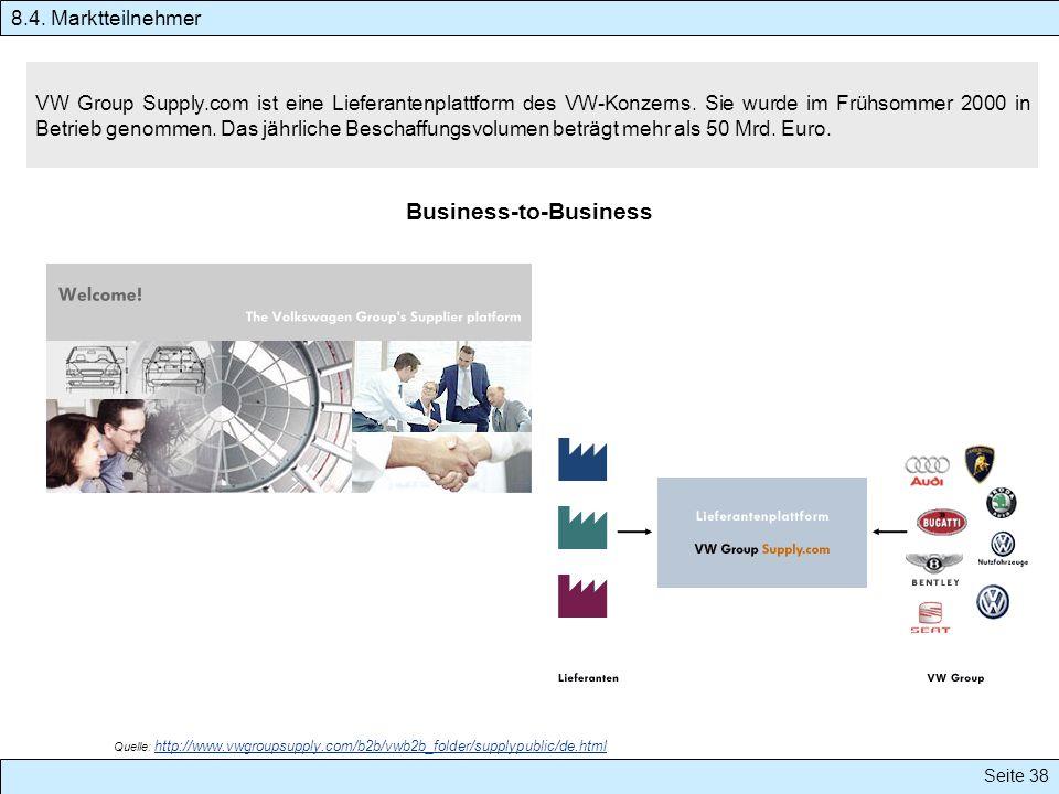 Seite 38 VW Group Supply.com ist eine Lieferantenplattform des VW-Konzerns. Sie wurde im Frühsommer 2000 in Betrieb genommen. Das jährliche Beschaffun