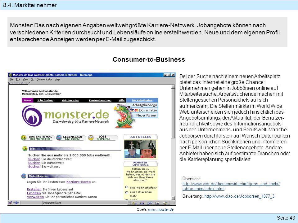 Seite 43 Monster: Das nach eigenen Angaben weltweit größte Karriere-Netzwerk. Jobangebote können nach verschiedenen Kriterien durchsucht und Lebensläu