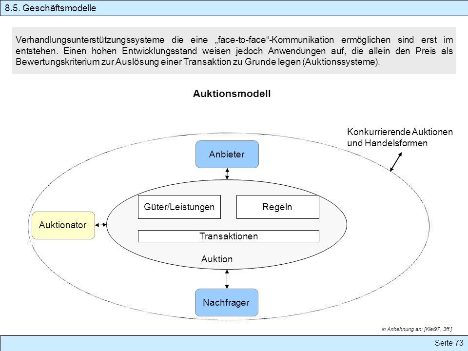 Seite 73 Auktionsmodell Verhandlungsunterstützungssysteme die eine face-to-face-Kommunikation ermöglichen sind erst im entstehen. Einen hohen Entwickl