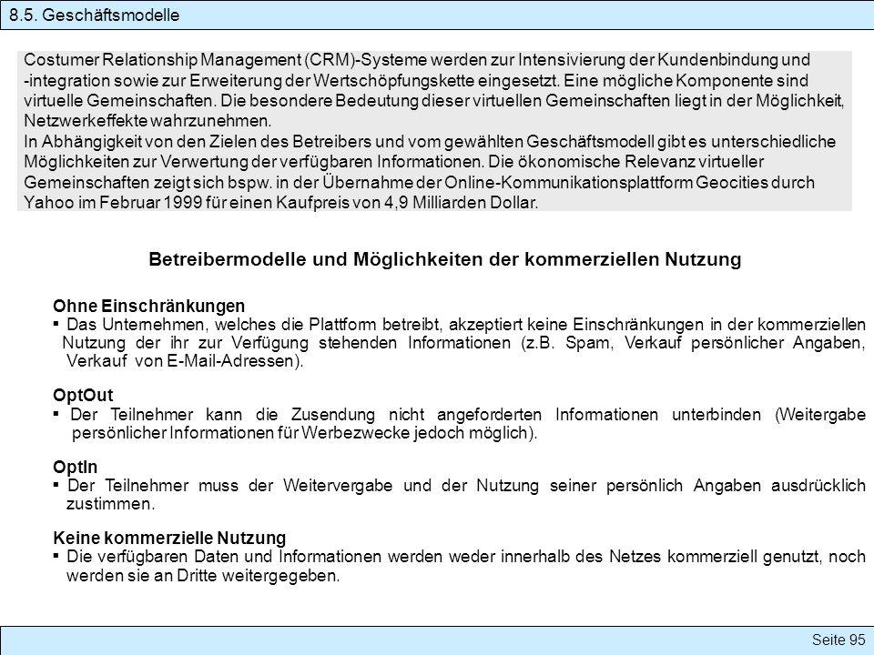 Seite 95 Costumer Relationship Management (CRM)-Systeme werden zur Intensivierung der Kundenbindung und -integration sowie zur Erweiterung der Wertsch