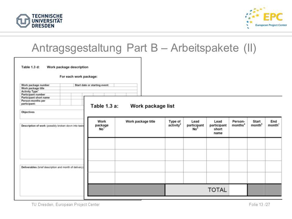 TU Dresden, European Project CenterFolie 13 /27 Antragsgestaltung Part B – Arbeitspakete (II)
