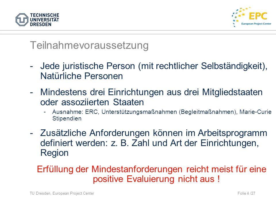 TU Dresden, European Project CenterFolie 15 /27 Antragsgestaltung Part B – Ergebnisse und Meilensteine (II)