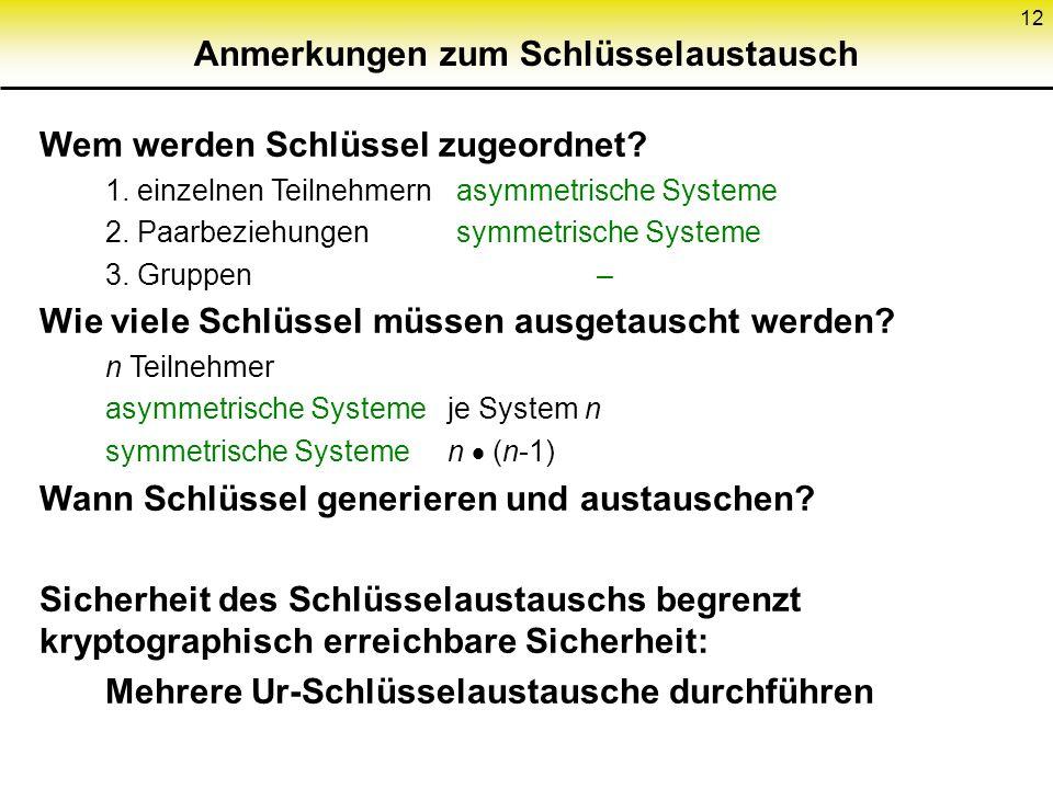 12 Anmerkungen zum Schlüsselaustausch Wem werden Schlüssel zugeordnet? 1. einzelnen Teilnehmernasymmetrische Systeme 2. Paarbeziehungensymmetrische Sy