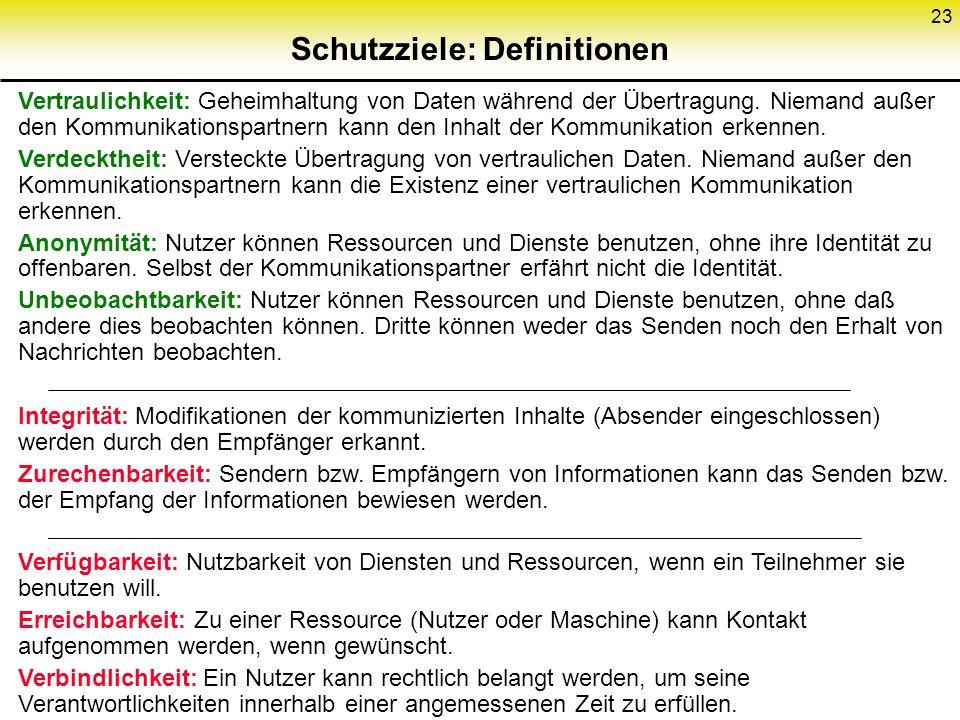 23 Schutzziele: Definitionen Vertraulichkeit: Geheimhaltung von Daten während der Übertragung. Niemand außer den Kommunikationspartnern kann den Inhal