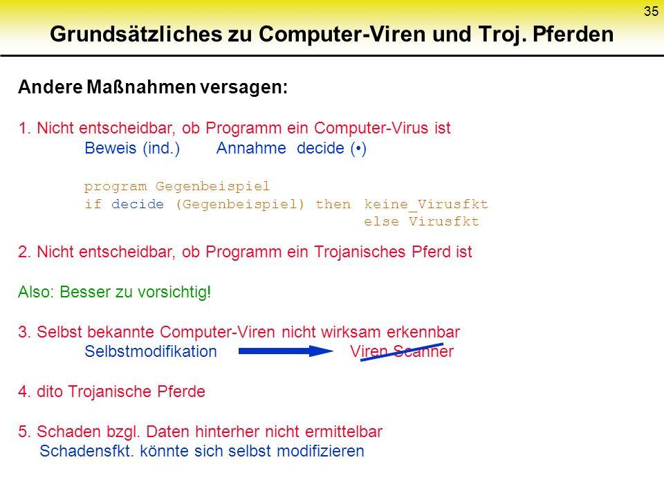 35 2. Nicht entscheidbar, ob Programm ein Trojanisches Pferd ist Also: Besser zu vorsichtig! 3. Selbst bekannte Computer-Viren nicht wirksam erkennbar