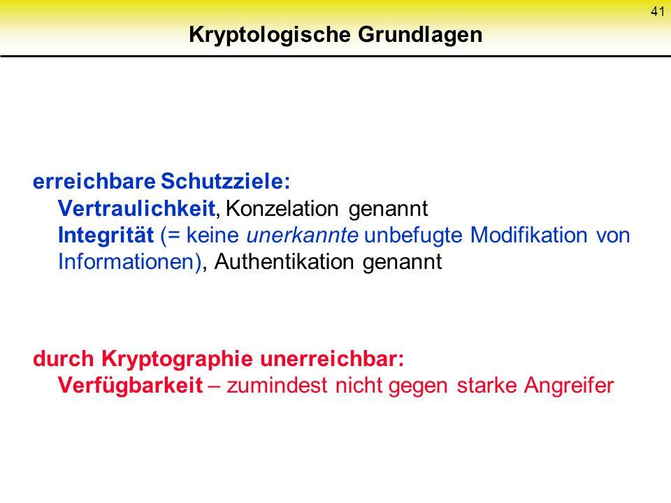 41 Kryptologische Grundlagen erreichbare Schutzziele: Vertraulichkeit, Konzelation genannt Integrität (= keine unerkannte unbefugte Modifikation von I