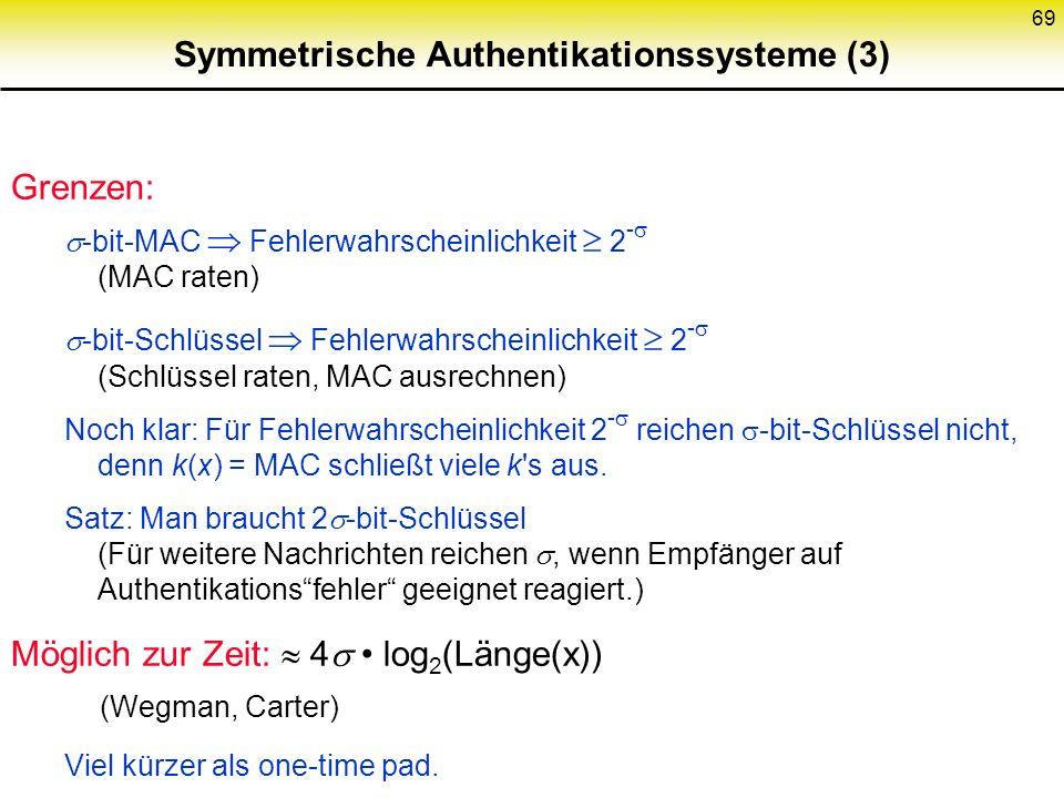 69 Symmetrische Authentikationssysteme (3) Grenzen: -bit-MAC Fehlerwahrscheinlichkeit 2 - (MAC raten) -bit-Schlüssel Fehlerwahrscheinlichkeit 2 - (Sch