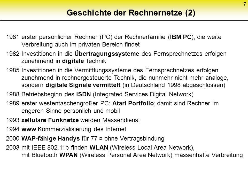 7 1981 erster persönlicher Rechner (PC) der Rechnerfamilie (IBM PC), die weite Verbreitung auch im privaten Bereich findet 1982 Investitionen in die Ü