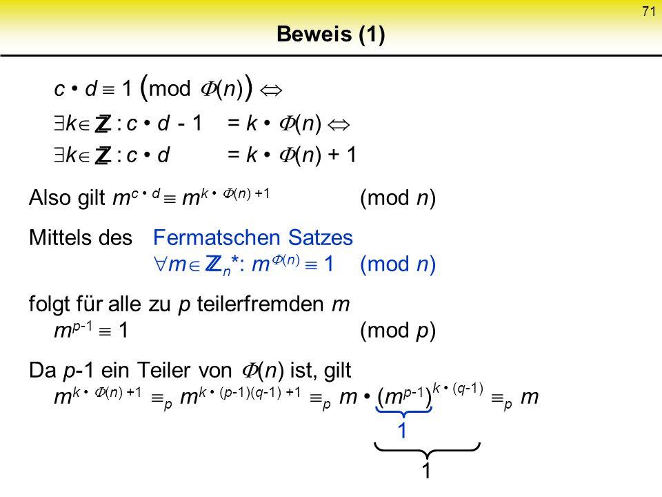 71 Beweis (1) c d 1 ( mod (n) ) k Z : c d - 1= k (n) k Z : c d= k (n) + 1 Also gilt m c d m k (n) +1 (mod n) Mittels desFermatschen Satzes m Z n *: m