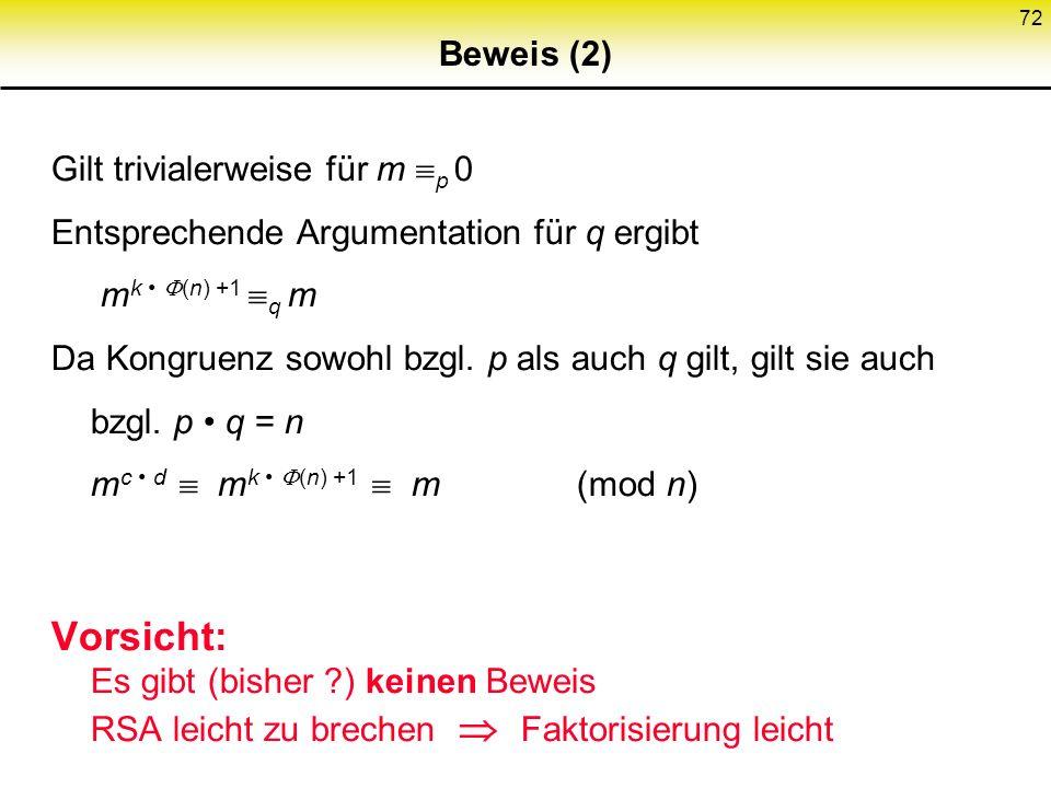 72 Beweis (2) Gilt trivialerweise für m p 0 Entsprechende Argumentation für q ergibt m k (n) +1 q m Da Kongruenz sowohl bzgl. p als auch q gilt, gilt