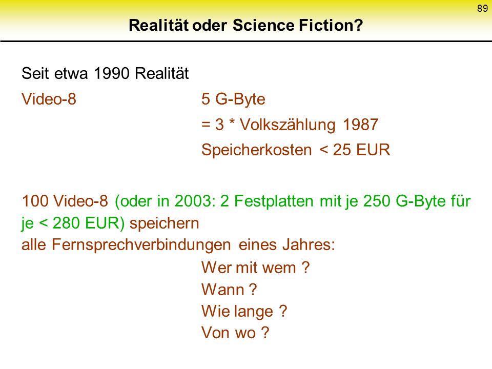 89 Realität oder Science Fiction? Seit etwa 1990 Realität Video-85 G-Byte = 3 * Volkszählung 1987 Speicherkosten < 25 EUR 100 Video-8 (oder in 2003: 2