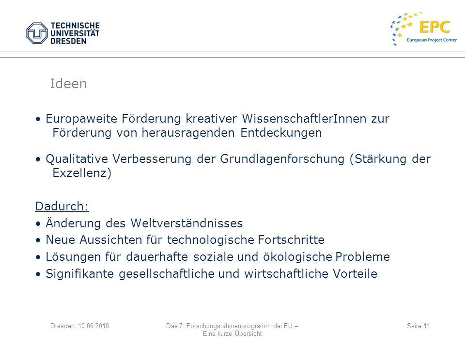 Dresden, 10.06.2010Das 7. Forschungsrahmenprogramm der EU – Eine kurze Übersicht Seite 11 Europaweite Förderung kreativer WissenschaftlerInnen zur För