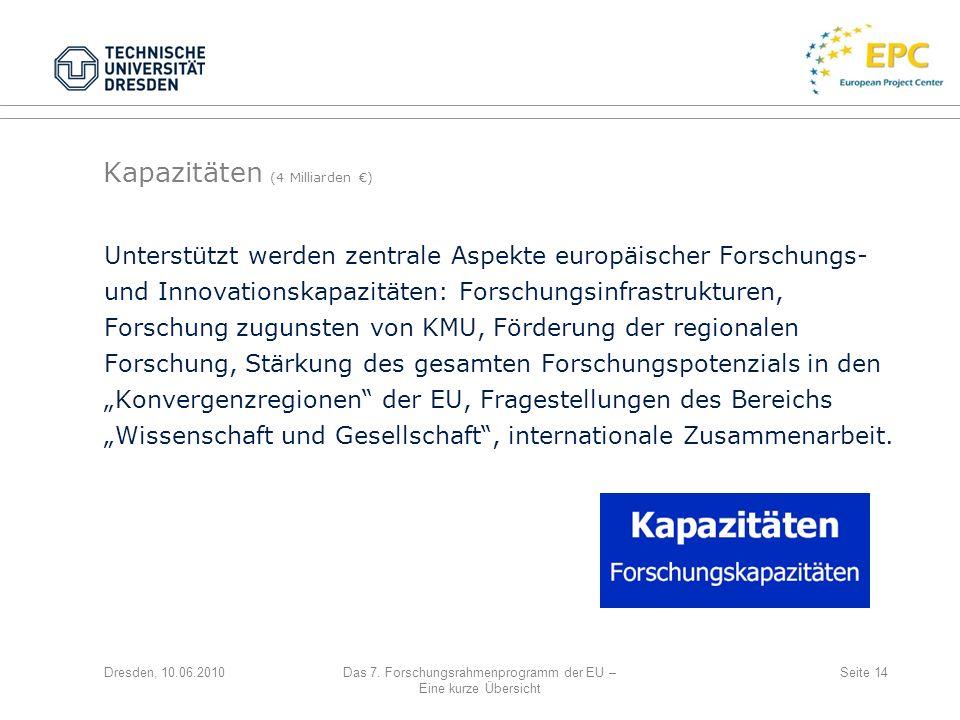 Dresden, 10.06.2010Das 7. Forschungsrahmenprogramm der EU – Eine kurze Übersicht Seite 14 Unterstützt werden zentrale Aspekte europäischer Forschungs-