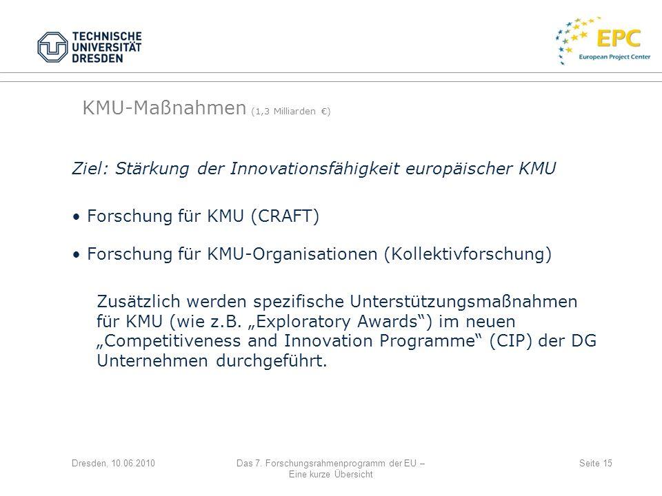 Dresden, 10.06.2010Das 7. Forschungsrahmenprogramm der EU – Eine kurze Übersicht Seite 15 Ziel: Stärkung der Innovationsfähigkeit europäischer KMU For