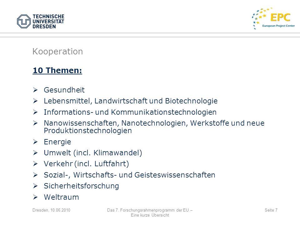 Dresden, 10.06.2010Das 7. Forschungsrahmenprogramm der EU – Eine kurze Übersicht Seite 7 10 Themen: Gesundheit Lebensmittel, Landwirtschaft und Biotec