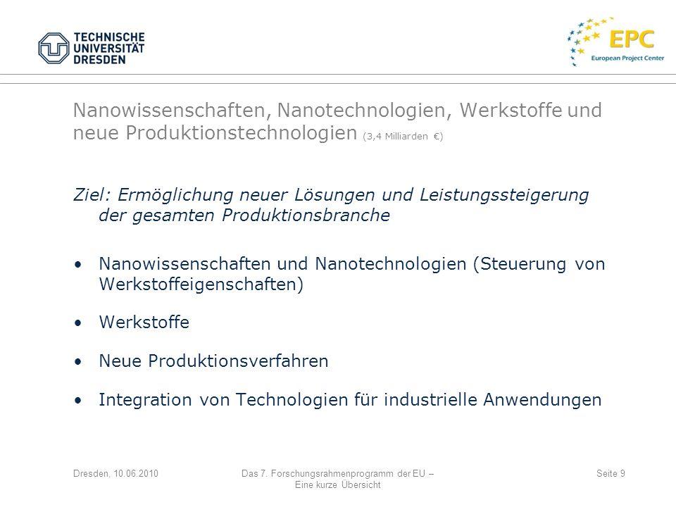 Dresden, 10.06.2010Das 7. Forschungsrahmenprogramm der EU – Eine kurze Übersicht Seite 9 Nanowissenschaften, Nanotechnologien, Werkstoffe und neue Pro