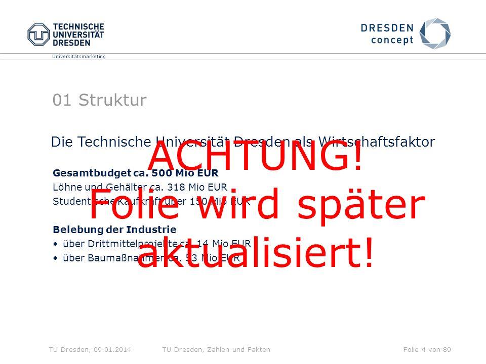 Universitätsmarketing TU Dresden, 09.01.2014TU Dresden, Zahlen und FaktenFolie 4 von 89 01 Struktur Gesamtbudget ca.