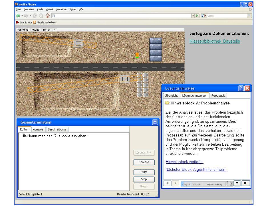 verfügbare Dokumentationen: Klassenbibliothek Baustelle EntwurfImplementierung Komp. Start Hinweisblock A: Problemanalyse Ziel der Analyse ist es, das