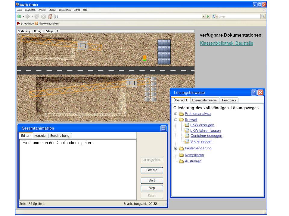 verfügbare Dokumentationen: Klassenbibliothek Baustelle Gliederung des vollständigen Lösungsweges