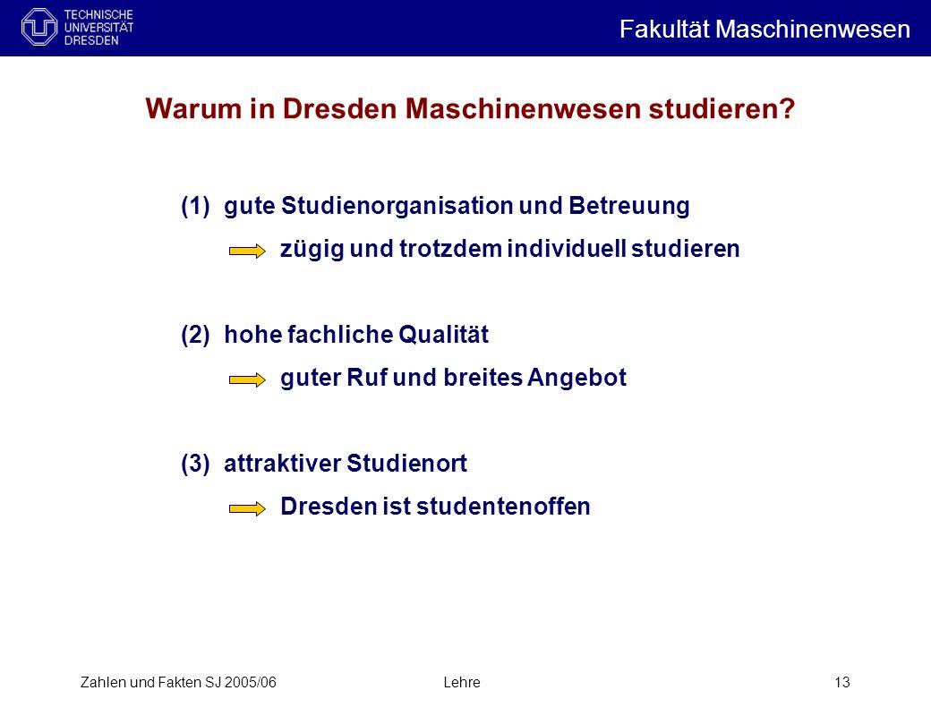 Zahlen und Fakten SJ 2005/06Lehre13 Warum in Dresden Maschinenwesen studieren.