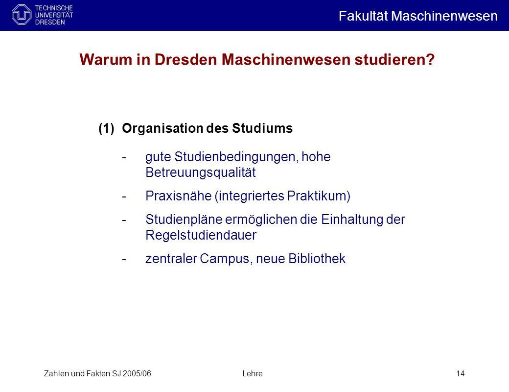 Zahlen und Fakten SJ 2005/06Lehre14 Warum in Dresden Maschinenwesen studieren.