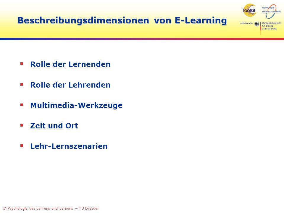 © Psychologie des Lehrens und Lernens – TU Dresden Beschreibungsdimensionen von E-Learning Rolle der Lernenden Rolle der Lehrenden Multimedia-Werkzeug