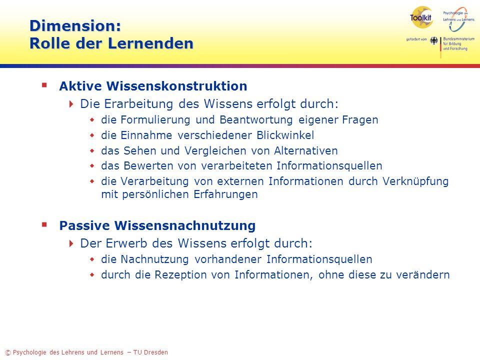© Psychologie des Lehrens und Lernens – TU Dresden Dimension: Rolle der Lernenden Aktive Wissenskonstruktion Die Erarbeitung des Wissens erfolgt durch