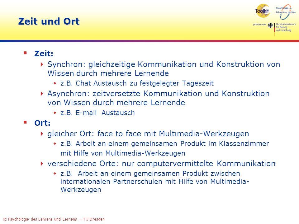 © Psychologie des Lehrens und Lernens – TU Dresden Zeit und Ort Zeit: Synchron: gleichzeitige Kommunikation und Konstruktion von Wissen durch mehrere