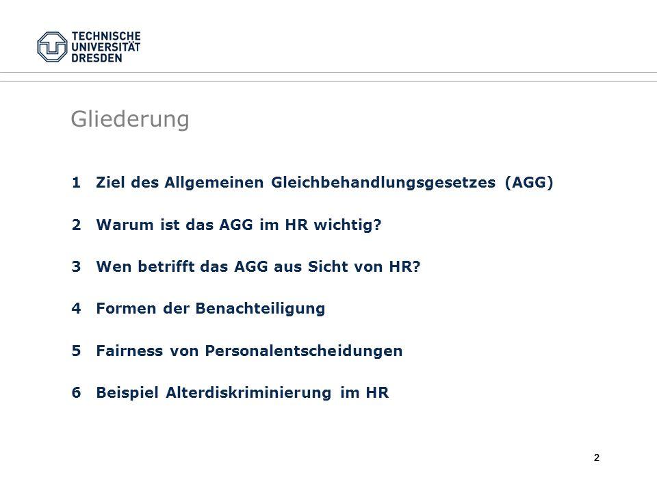 2 Gliederung 1Ziel des Allgemeinen Gleichbehandlungsgesetzes (AGG) 2Warum ist das AGG im HR wichtig? 3Wen betrifft das AGG aus Sicht von HR? 4Formen d