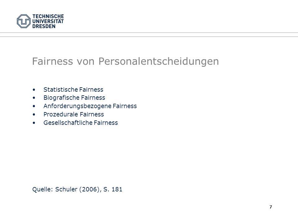 Fairness von Personalentscheidungen Statistische Fairness Biografische Fairness Anforderungsbezogene Fairness Prozedurale Fairness Gesellschaftliche Fairness Quelle: Schuler (2006), S.