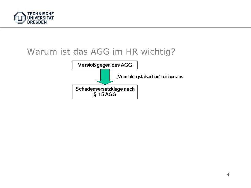 Warum ist das AGG im HR wichtig? Verstoß gegen das AGG Schadensersatzklage nach § 15 AGG Vermutungstatsachen reichen aus 4