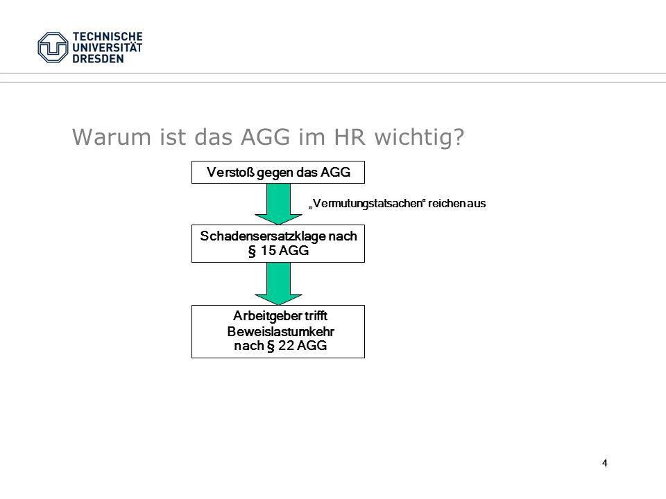 Warum ist das AGG im HR wichtig? Verstoß gegen das AGG Schadensersatzklage nach § 15 AGG Vermutungstatsachen reichen aus Arbeitgeber trifft Beweislast