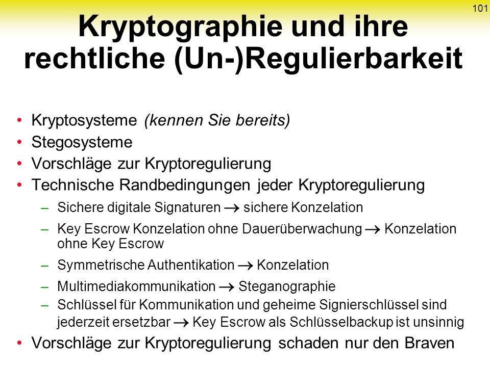 101 Kryptosysteme (kennen Sie bereits) Stegosysteme Vorschläge zur Kryptoregulierung Technische Randbedingungen jeder Kryptoregulierung –Sichere digit