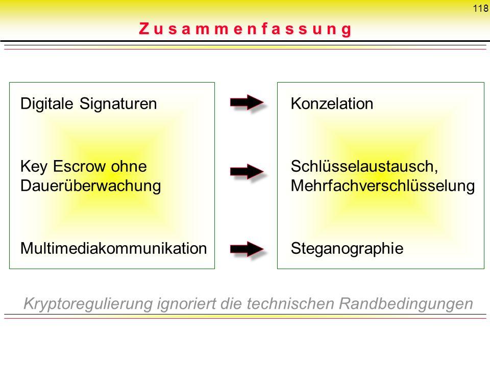 118 Digitale Signaturen Key Escrow ohne Dauerüberwachung Multimediakommunikation Konzelation Schlüsselaustausch, Mehrfachverschlüsselung Steganographi