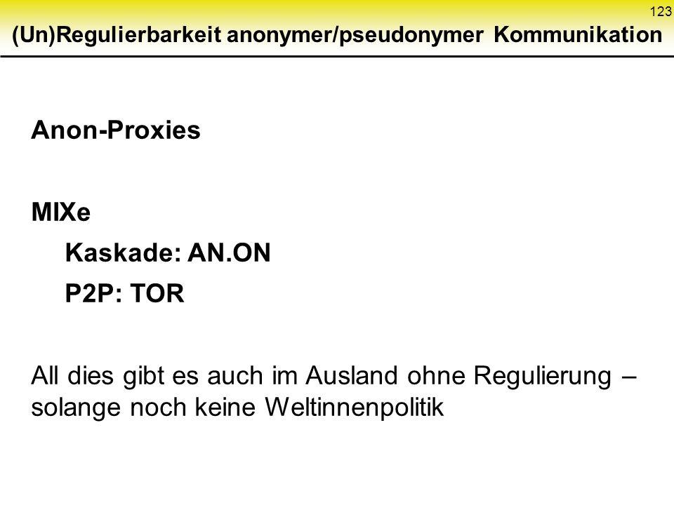 123 (Un)Regulierbarkeit anonymer/pseudonymer Kommunikation Anon-Proxies MIXe Kaskade: AN.ON P2P: TOR All dies gibt es auch im Ausland ohne Regulierung