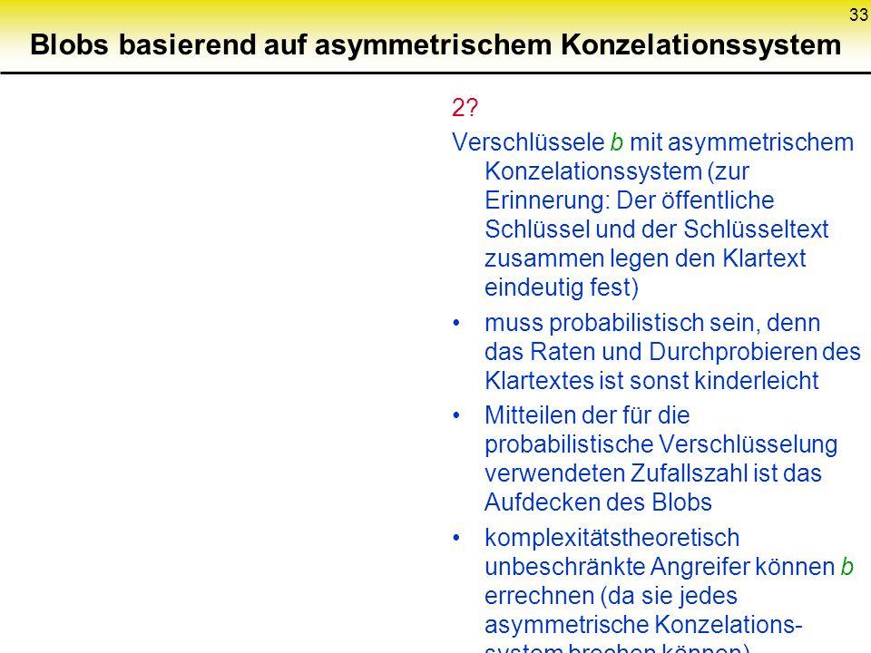 33 Blobs basierend auf asymmetrischem Konzelationssystem 2? Verschlüssele b mit asymmetrischem Konzelationssystem (zur Erinnerung: Der öffentliche Sch