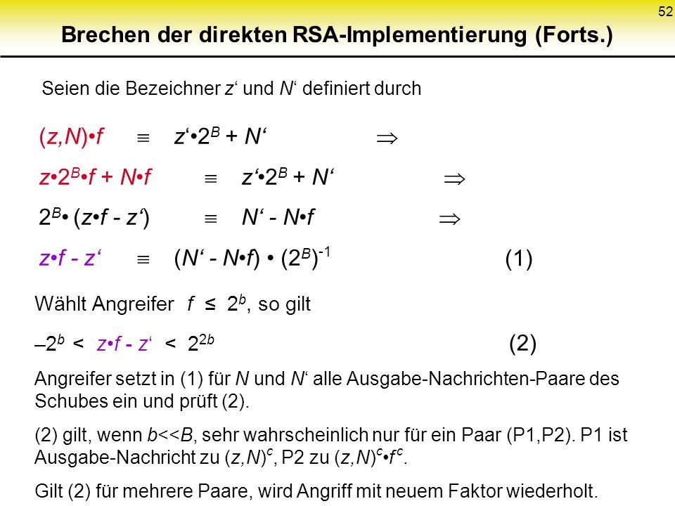 52 Brechen der direkten RSA-Implementierung (Forts.) Seien die Bezeichner z und N definiert durch (z,N)f z2 B + N z2 Bf + Nf z2 B + N 2 B (zf - z) N -