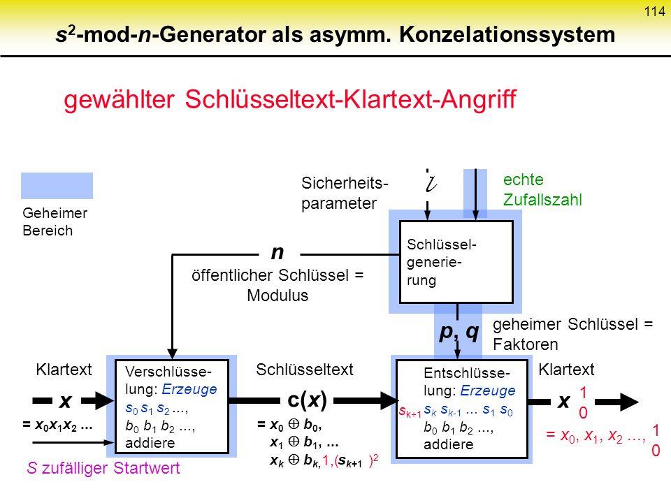 113 s 2 -mod-n-Gener. als symm. Konzelationssystem: Sicherheit Idee: Wenn kein probabilistischer polynominaler Test Pseudozufallsfolgen von echten Zuf