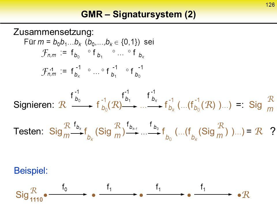 125 GMR – Signatursystem (1) Konsequenz Variation von m (aktiver Angriff) bedeutet nun auch Variation von R – einer zufällig gewählten Referenz, die d