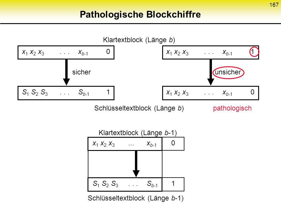 166 CBC zur Authentikation Ver- schlüsse- lung Schlüssel Klartext Schlüssel- textblock n Speicher für Schlüsseltextblock n-1 Klartext- block n Letzter