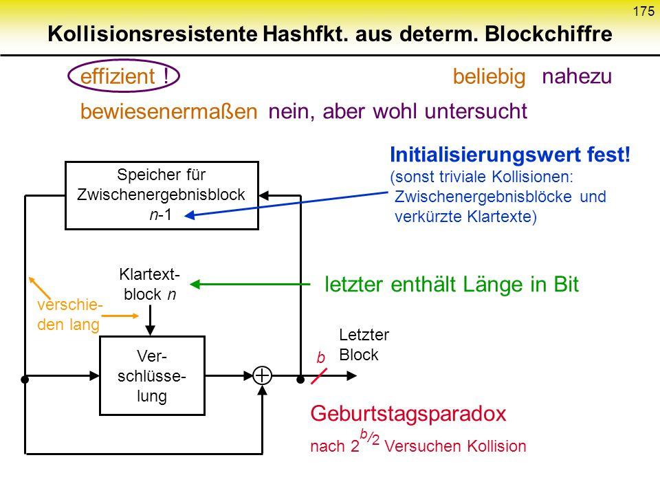 174 Eigenschaften der Betriebsarten ECBCBCPCBCCFBOFBOCFB Verwendung in- deterministischer Blockchiffren + möglich- nicht möglich Bei asymmetri- scher