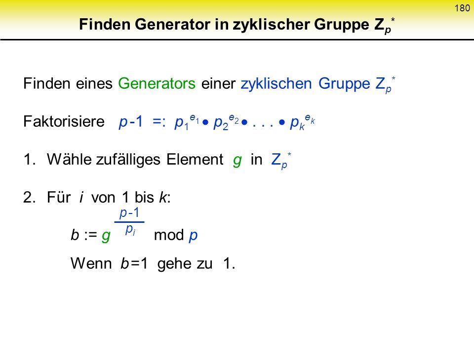 179 Diffie-Hellman-Annahme DH-Annahme: Gegeben p, g, g x mod p und g y mod p Berechnen von g xy mod p ist schwierig DH-Annahme ist stärker als Diskret