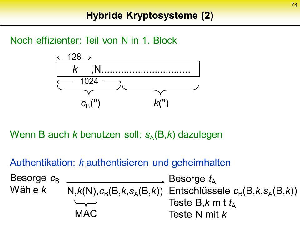 73 Hybride Kryptosysteme (1) Kombiniere: von asymmetrischen: Einfache Schlüsselverteilung von symmetrischen: Effizienz (Faktor 100 bis 10000, SW und H